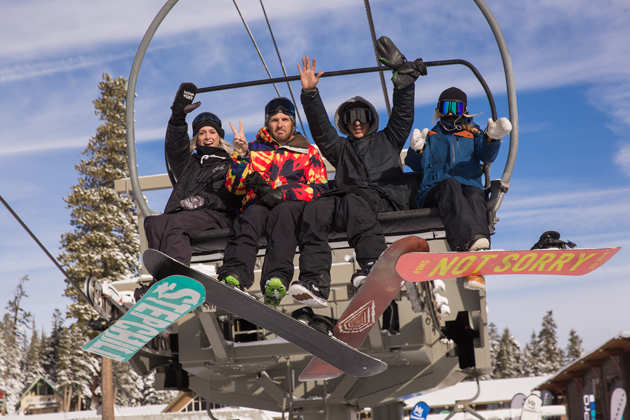First chair of the season with buds. (l to r) Possum Torr, Billy Anderson, Scott Blum, and Stefi Luxton. photo: Kevin Westenbarger