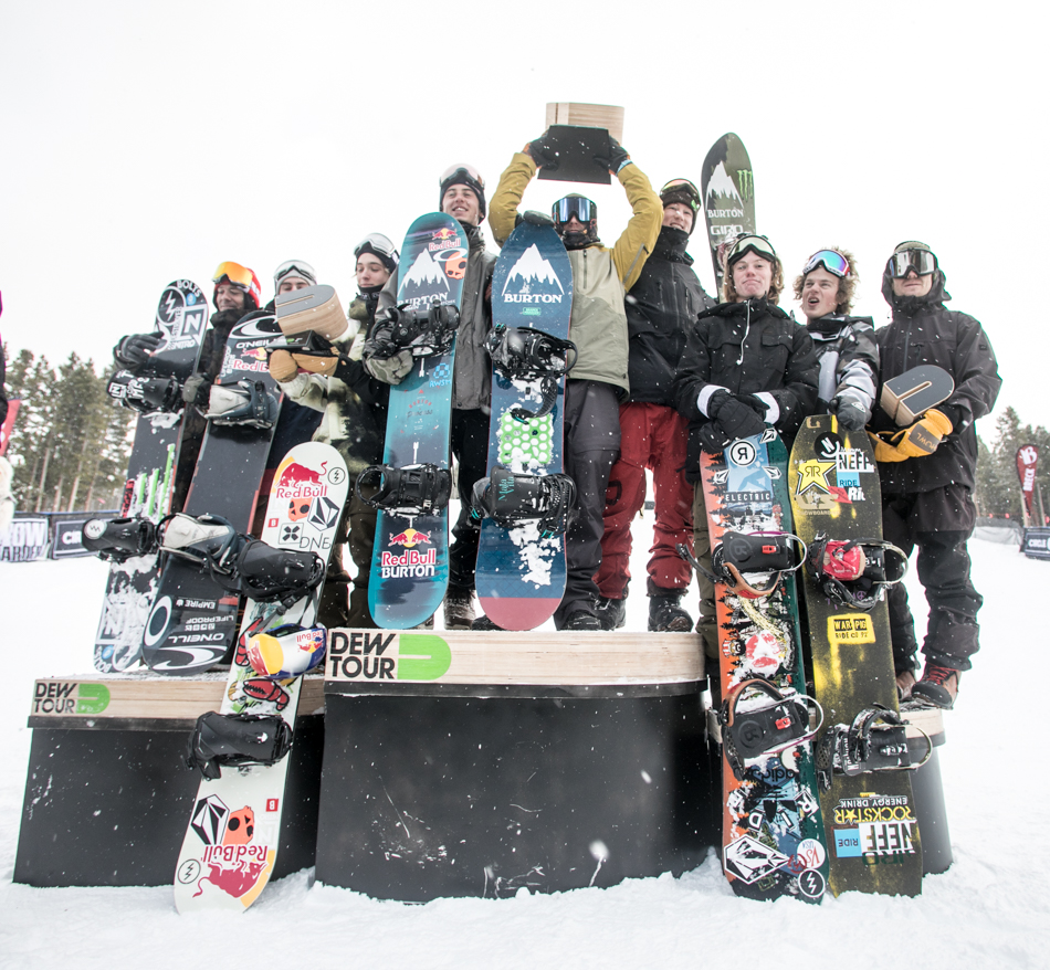 2016 Dew Tour team challenge podium.