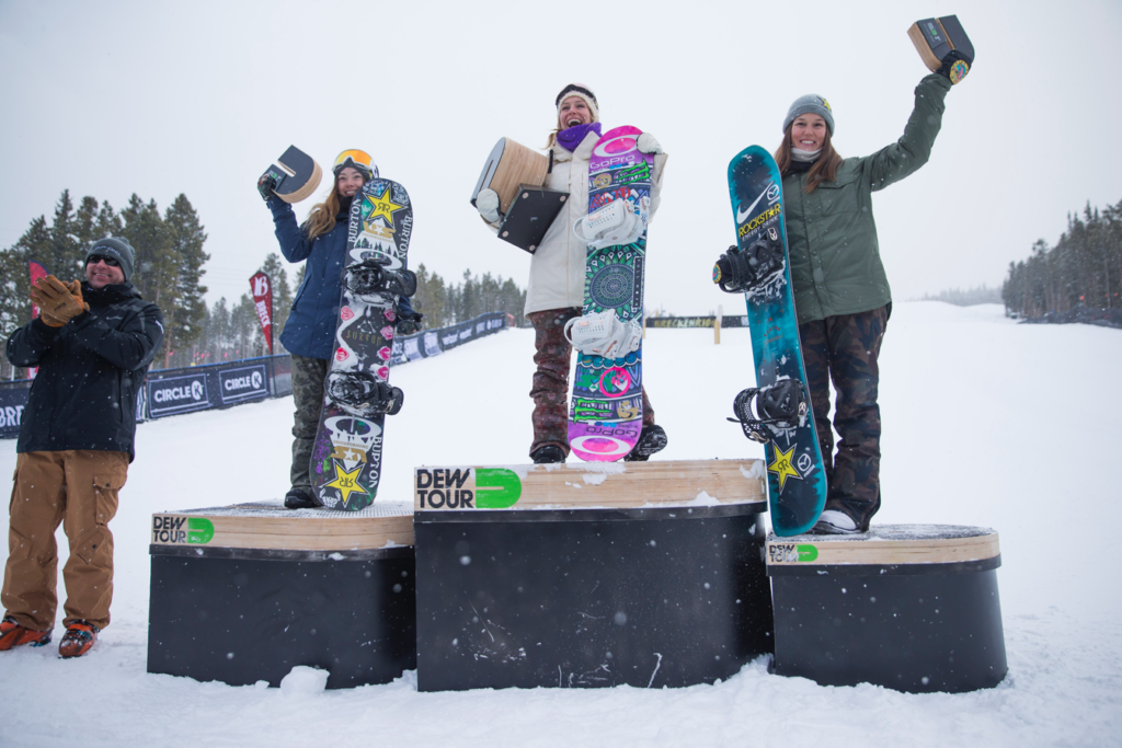 2016 Dew Tour Women's slopestyle podium . p: Yosh